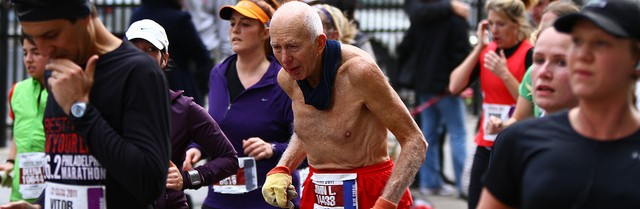 Old man in marathon