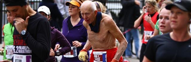 Old man in marathon