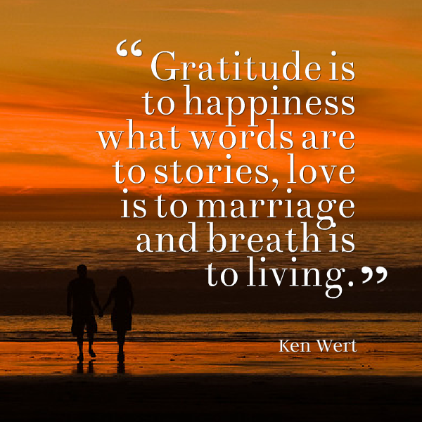 Gratitude is to happiness
