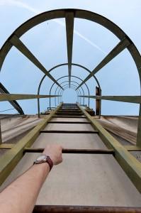 Climbimg a ladder